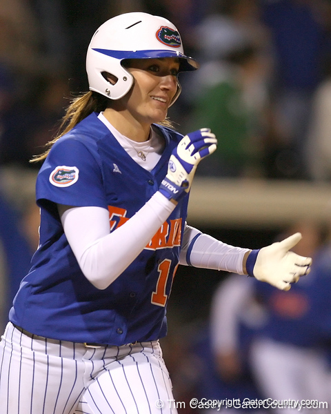 photo by Tim Casey<br /> <br /> Florida junior left fielder Francesca Enea rounds the bases after hitting a walk-off home run during the ninth inning of the Gators' 4-3 win against the Florida State Seminoles on Wednesday, April 8, 2009 at Katie Seashole Pressly Softball Stadium in Gainesville, Fla.