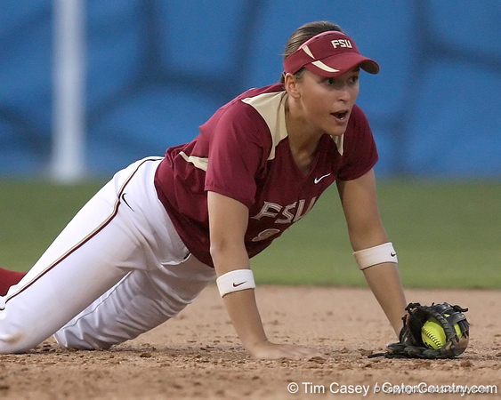 photo by Tim Casey<br /> <br /> FSU shortstop Ashley Stager catches a line drive during the seventh inning of the Gators' 4-3 win in nine innings against the Florida State Seminoles on Wednesday, April 8, 2009 at Katie Seashole Pressly Softball Stadium in Gainesville, Fla.