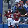 photo by Tim Casey<br /> <br /> FSU first baseman Brittany Joseph drops a foul ball during the sixth inning of the Gators' 4-3 win in nine innings against the Florida State Seminoles on Wednesday, April 8, 2009 at Katie Seashole Pressly Softball Stadium in Gainesville, Fla.