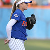 photo by Tim Casey<br /> <br /> Florida sophomore shortstop Megan Bush signals to the outfield during the sixth inning of the Gators' 4-3 win in nine innings against the Florida State Seminoles on Wednesday, April 8, 2009 at Katie Seashole Pressly Softball Stadium in Gainesville, Fla.