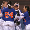 photo by Tim Casey<br /> <br /> Florida senior pitcher Stacey Nelson gets congratulated by infielders during the eighth inning of the Gators' 4-3 win in nine innings against the Florida State Seminoles on Wednesday, April 8, 2009 at Katie Seashole Pressly Softball Stadium in Gainesville, Fla.