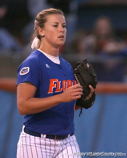 photo by Tim Casey<br /> <br /> Florida senior pitcher Stacey Nelson enters the game during the eighth inning of the Gators' 4-3 win in nine innings against the Florida State Seminoles on Wednesday, April 8, 2009 at Katie Seashole Pressly Softball Stadium in Gainesville, Fla.