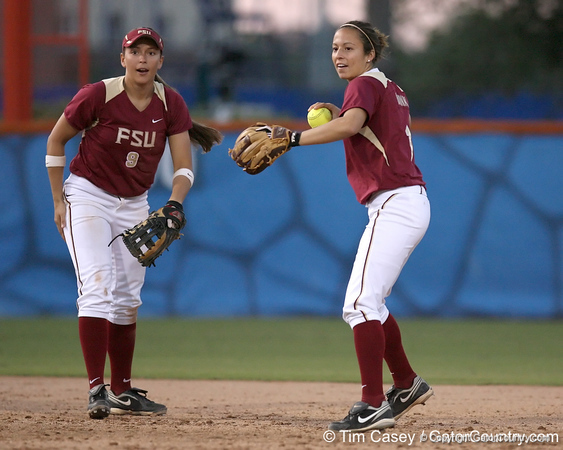 photo by Tim Casey<br /> <br /> FSU second baseman Kristie McConn throws the ball around during the seventh inning of the Gators' 4-3 win in nine innings against the Florida State Seminoles on Wednesday, April 8, 2009 at Katie Seashole Pressly Softball Stadium in Gainesville, Fla.