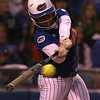 photo by Tim Casey<br /> <br /> Florida sophomore second baseman Aja Paculba hits a single during the eighth inning of the Gators' 4-3 win in nine innings against the Florida State Seminoles on Wednesday, April 8, 2009 at Katie Seashole Pressly Softball Stadium in Gainesville, Fla.