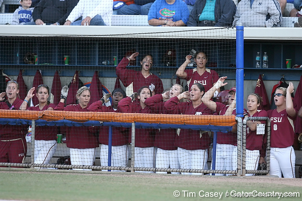 photo by Tim Casey<br /> <br /> FSU players cheer during the sixth inning of the Gators' 4-3 win in nine innings against the Florida State Seminoles on Wednesday, April 8, 2009 at Katie Seashole Pressly Softball Stadium in Gainesville, Fla.