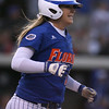 photo by Tim Casey<br /> <br /> Florida sophomore shortstop Megan Bush hits a game-tying home run with two outs during the seventh inning of the Gators' 4-3 win in nine innings against the Florida State Seminoles on Wednesday, April 8, 2009 at Katie Seashole Pressly Softball Stadium in Gainesville, Fla.