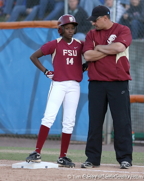 photo by Tim Casey<br /> <br /> FSU's Shayla Jackson stands on first base during the sixth inning of the Gators' 4-3 win in nine innings against the Florida State Seminoles on Wednesday, April 8, 2009 at Katie Seashole Pressly Softball Stadium in Gainesville, Fla.
