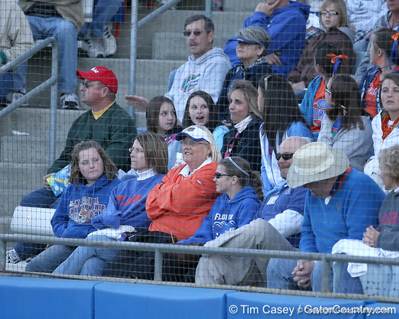 photo by Tim Casey<br /> <br /> A crowd of 2,398 watches during the Gators' 4-3 win in nine innings against the Florida State Seminoles on Wednesday, April 8, 2009 at Katie Seashole Pressly Softball Stadium in Gainesville, Fla.