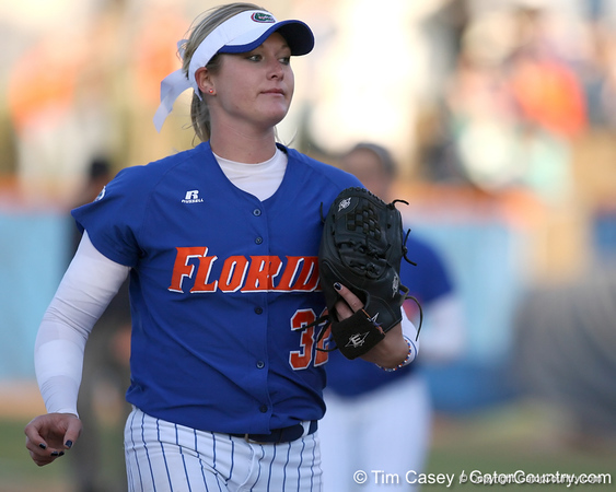 photo by Tim Casey<br /> <br /> Florida sophomore pitcher Stephanie Brombacher heads to the dugout during the fifth inning of the Gators' 4-3 win in nine innings against the Florida State Seminoles on Wednesday, April 8, 2009 at Katie Seashole Pressly Softball Stadium in Gainesville, Fla.