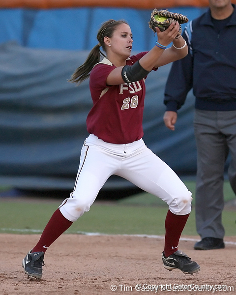 photo by Tim Casey<br /> <br /> FSU first baseman Brittany Joseph fields a ground ball to end the sixth inning during the Gators' 4-3 win in nine innings against the Florida State Seminoles on Wednesday, April 8, 2009 at Katie Seashole Pressly Softball Stadium in Gainesville, Fla.