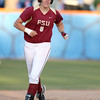 photo by Tim Casey<br /> <br /> FSU's Kalegh Rafter rounds second base after hitting a two-run homer during the sixth inning of the Gators' 4-3 win in nine innings against the Florida State Seminoles on Wednesday, April 8, 2009 at Katie Seashole Pressly Softball Stadium in Gainesville, Fla.