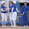 photo by Tim Casey<br /> <br /> Florida sophomore Kelsey Bruder talks with junior left fielder Francesca Enea during the seventh inning of the Gators' 4-3 win in nine innings against the Florida State Seminoles on Wednesday, April 8, 2009 at Katie Seashole Pressly Softball Stadium in Gainesville, Fla.
