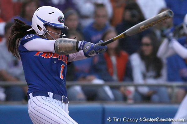 photo by Tim Casey<br /> <br /> Florida sophomore Kelsey Bruder bats during the seventh inning of the Gators' 4-3 win in nine innings against the Florida State Seminoles on Wednesday, April 8, 2009 at Katie Seashole Pressly Softball Stadium in Gainesville, Fla.