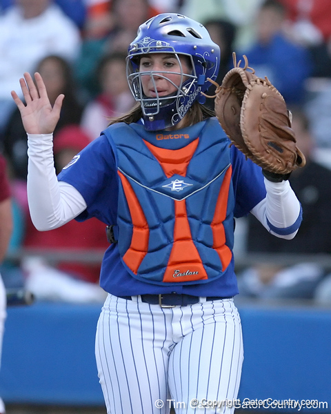 photo by Tim Casey<br /> <br /> Florida senior catcher Kristina Hilberth congratulates Stephanie Brombacher during the sixth inning of the Gators' 4-3 win in nine innings against the Florida State Seminoles on Wednesday, April 8, 2009 at Katie Seashole Pressly Softball Stadium in Gainesville, Fla.