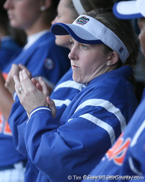 photo by Tim Casey<br /> <br /> Florida senior centerfielder Kim Waleszonia cheers during the sixth inning of the Gators' 4-3 win in nine innings against the Florida State Seminoles on Wednesday, April 8, 2009 at Katie Seashole Pressly Softball Stadium in Gainesville, Fla.