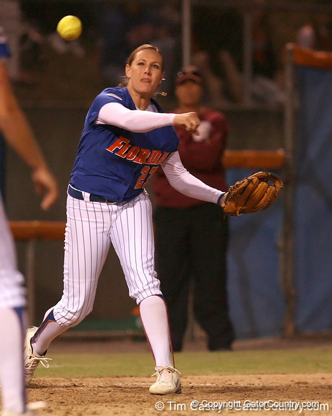 photo by Tim Casey<br /> <br /> Florida junior third baseman Corrie Brooks throws out a runner at first base during the ninth inning of the Gators' 4-3 win in nine innings against the Florida State Seminoles on Wednesday, April 8, 2009 at Katie Seashole Pressly Softball Stadium in Gainesville, Fla.