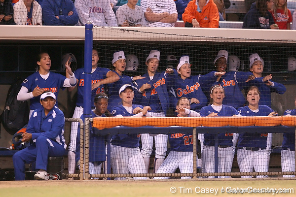 photo by Tim Casey<br /> <br /> Florida players cheer for Aja Paculba during the eighth inning of the Gators' 4-3 win in nine innings against the Florida State Seminoles on Wednesday, April 8, 2009 at Katie Seashole Pressly Softball Stadium in Gainesville, Fla.