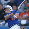 photo by Tim Casey<br /> <br /> Florida sophomore Tiffany DeFelice flies out to left field during the sixth inning of the Gators' 4-3 win in nine innings against the Florida State Seminoles on Wednesday, April 8, 2009 at Katie Seashole Pressly Softball Stadium in Gainesville, Fla.