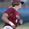 photo by Tim Casey<br /> <br /> FSU's Kalegh Rafter rounds third base after hitting a two-run homer during the sixth inning of the Gators' 4-3 win in nine innings against the Florida State Seminoles on Wednesday, April 8, 2009 at Katie Seashole Pressly Softball Stadium in Gainesville, Fla.