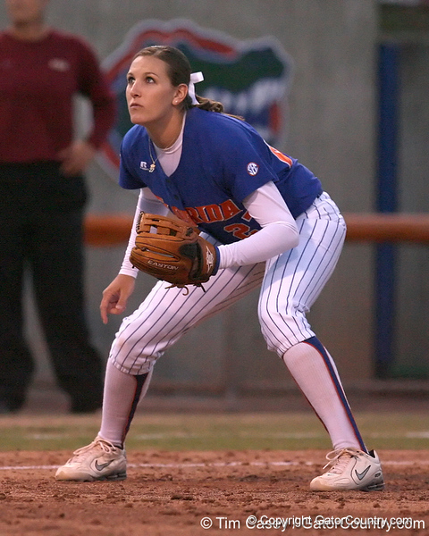 photo by Tim Casey<br /> <br /> Florida junior third baseman Corrie Brooks gets in position during the eighth inning of the Gators' 4-3 win in nine innings against the Florida State Seminoles on Wednesday, April 8, 2009 at Katie Seashole Pressly Softball Stadium in Gainesville, Fla.
