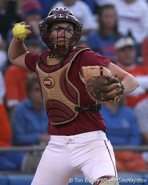 photo by Tim Casey<br /> <br /> FSU catcher Kaleigh Rafter throws the ball to first base during the seventh inning of the Gators' 4-3 win in nine innings against the Florida State Seminoles on Wednesday, April 8, 2009 at Katie Seashole Pressly Softball Stadium in Gainesville, Fla.