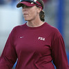 photo by Tim Casey<br /> <br /> FSU coach Lonni Alameda coaches third base during the sixth inning of the Gators' 4-3 win in nine innings against the Florida State Seminoles on Wednesday, April 8, 2009 at Katie Seashole Pressly Softball Stadium in Gainesville, Fla.