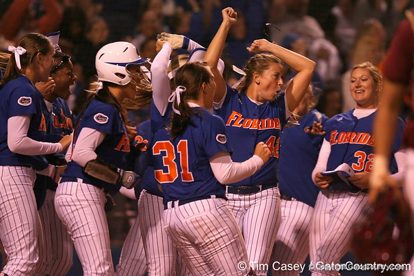 photo by Tim Casey<br /> <br /> Florida senior pitcher Stacey Nelson celebrates during the Gators' 4-3 win in nine innings against the Florida State Seminoles on Wednesday, April 8, 2009 at Katie Seashole Pressly Softball Stadium in Gainesville, Fla.