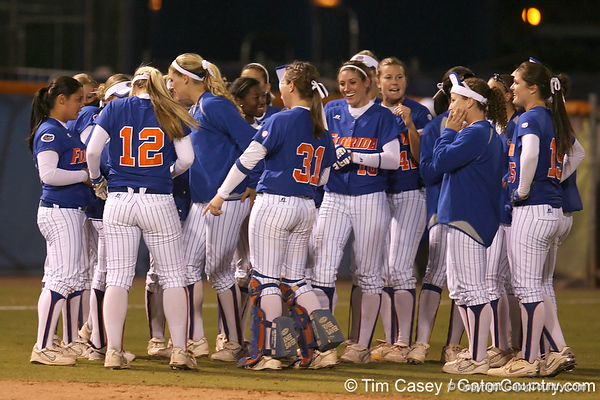 photo by Tim Casey<br /> <br /> Florida players the celebrate after the Gators' 4-3 win in nine innings against the Seminoles on Wednesday, April 8, 2009 at Katie Seashole Pressly Softball Stadium in Gainesville, Fla.