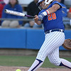 photo by Tim Casey<br /> <br /> Florida sophomore Tiffany DeFelice fouls a pitch off of her foot during the sixth inning of the Gators' 4-3 win in nine innings against the Florida State Seminoles on Wednesday, April 8, 2009 at Katie Seashole Pressly Softball Stadium in Gainesville, Fla.