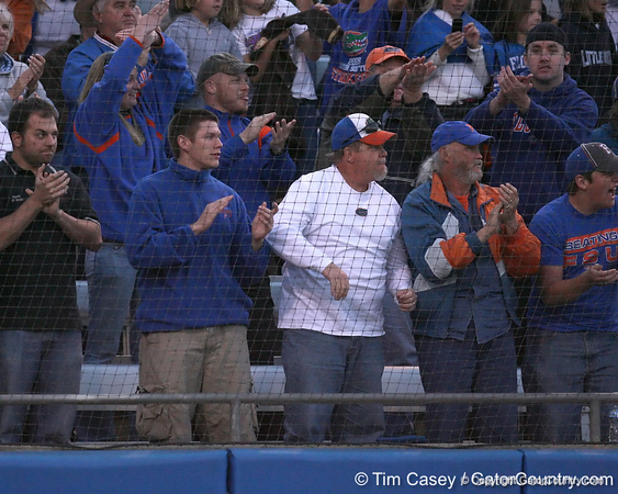 photo by Tim Casey<br /> <br /> Florida fans cheer after sophomore shortstop Megan Bush hit a game-tying home run with two outs during the seventh inning of the Gators' 4-3 win in nine innings against the Florida State Seminoles on Wednesday, April 8, 2009 at Katie Seashole Pressly Softball Stadium in Gainesville, Fla.