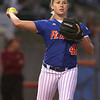 photo by Tim Casey<br /> <br /> Florida senior pitcher Stacey Nelson throws to first base during the eighth inning of the Gators' 4-3 win in nine innings against the Florida State Seminoles on Wednesday, April 8, 2009 at Katie Seashole Pressly Softball Stadium in Gainesville, Fla.