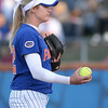photo by Tim Casey<br /> <br /> Florida sophomore pitcher Stephanie Brombacher prepares to pitch in the sixth inning during the Gators' 4-3 win in nine innings against the Florida State Seminoles on Wednesday, April 8, 2009 at Katie Seashole Pressly Softball Stadium in Gainesville, Fla.