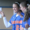 photo by Tim Casey<br /> <br /> Florida senior first baseman Ali Gardiner jokes with senior pitcher Stacey Nelson during the Gators' 4-3 win in nine innings against the Florida State Seminoles on Wednesday, April 8, 2009 at Katie Seashole Pressly Softball Stadium in Gainesville, Fla.