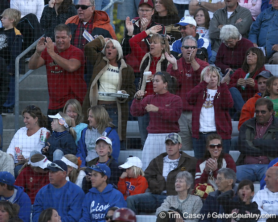 photo by Tim Casey<br /> <br /> FSU' fans cheer after Kaleigh Rafter hit a two-run homer during the sixth inning of the Gators' 4-3 win in nine innings against the Florida State Seminoles on Wednesday, April 8, 2009 at Katie Seashole Pressly Softball Stadium in Gainesville, Fla.