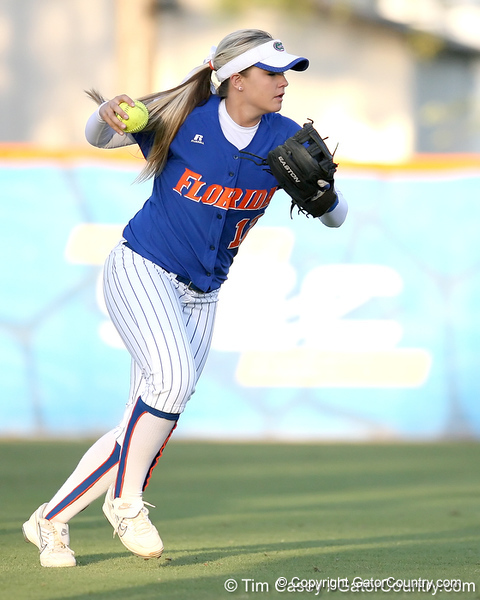 photo by Tim Casey<br /> <br /> Florida sophomore shortstop Megan Bush returns the ball to the infield during the sixth inning of the Gators' 4-3 win in nine innings against the Florida State Seminoles on Wednesday, April 8, 2009 at Katie Seashole Pressly Softball Stadium in Gainesville, Fla.