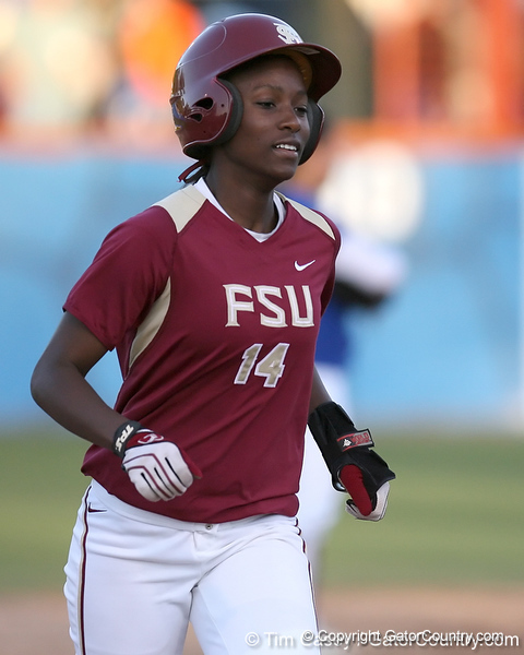 photo by Tim Casey<br /> <br /> FSU's Shayla Jackson rounds third base during the sixth inning of the  Gators' 4-3 win in nine innings against the Florida State Seminoles on Wednesday, April 8, 2009 at Katie Seashole Pressly Softball Stadium in Gainesville, Fla.