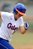 (Casey Brooke Lawson / Gator Country) Megan Bush runs toward first base during University of Florida's game against Georgia Tech. The Gators defeated the Yellow jackets in six innings, 11 to 1, on Sunday, February 15, 2009 during the Lipton Softball Invitational championship at Katie Seashole Pressly Stadium.