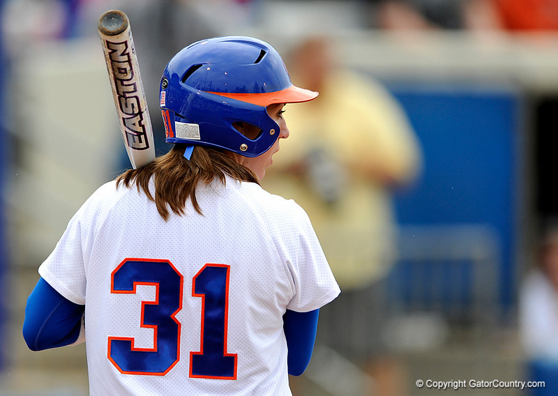 (Casey Brooke Lawson / Gator Country) Kristina Hilberth prepares to bat during University of Florida's game against Georgia Tech. The Gators defeated the Yellow jackets in six innings, 11 to 1, on Sunday, February 15, 2009 during the Lipton Softball Invitational championship at Katie Seashole Pressly Stadium.