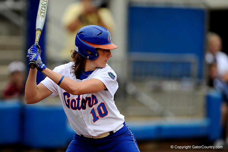 (Casey Brooke Lawson / Gator Country) Francesca Enea prepares to bat during University of Florida's game against Georgia Tech. The Gators defeated the Yellow jackets in six innings, 11 to 1, on Sunday, February 15, 2009 during the Lipton Softball Invitational championship at Katie Seashole Pressly Stadium.