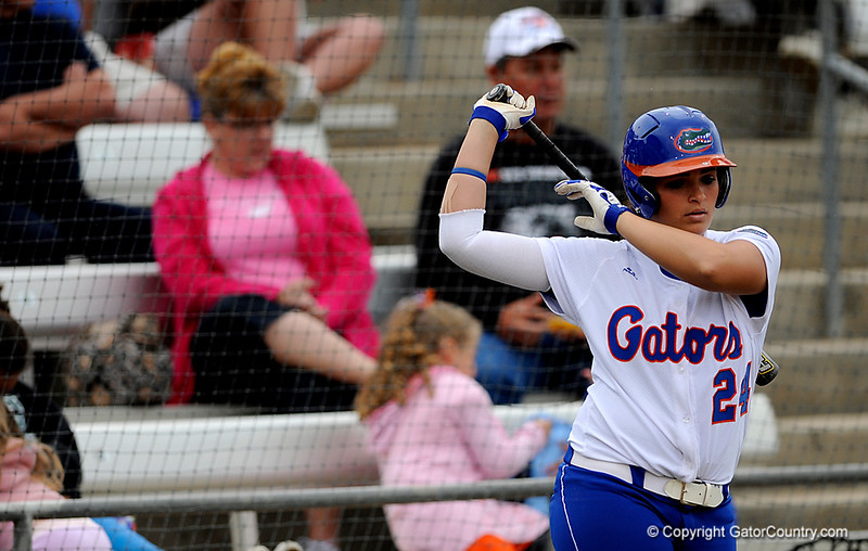 (Casey Brooke Lawson / Gator Country) Ali Gardiner prepares to bat during University of Florida's game against Georgia Tech. The Gators defeated the Yellow jackets in six innings, 11 to 1, on Sunday, February 15, 2009 during the Lipton Softball Invitational championship at Katie Seashole Pressly Stadium.