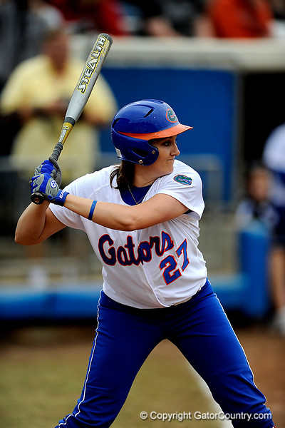 (Casey Brooke Lawson / Gator Country) Corrie Brooks prepres to bat during University of Florida's game against Georgia Tech. The Gators defeated the Yellow jackets in six innings, 11 to 1, on Sunday, February 15, 2009 during the Lipton Softball Invitational championship at Katie Seashole Pressly Stadium.
