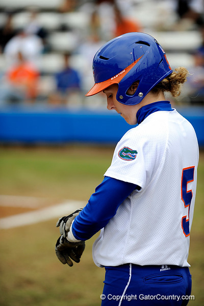 (Casey Brooke Lawson / Gator Country) Kim Waleszonia straps on her batting gloves during University of Florida's game against Georgia Tech. The Gators defeated the Yellow jackets in six innings, 11 to 1, on Sunday, February 15, 2009 during the Lipton Softball Invitational championship at Katie Seashole Pressly Stadium.