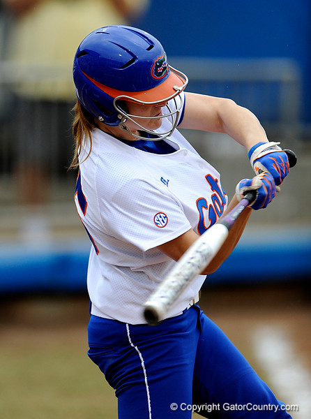 (Casey Brooke Lawson / Gator Country) Brooke Johnson prepares to bat during University of Florida's game against Georgia Tech. The Gators defeated the Yellow jackets in six innings, 11 to 1, on Sunday, February 15, 2009 during the Lipton Softball Invitational championship at Katie Seashole Pressly Stadium.