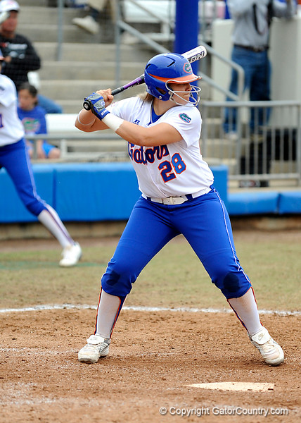 (Casey Brooke Lawson / Gator Country) Tiffany DeFelice prepares to bat during University of Florida's game against Georgia Tech. The Gators defeated the Yellow jackets in six innings, 11 to 1, on Sunday, February 15, 2009 during the Lipton Softball Invitational championship at Katie Seashole Pressly Stadium.