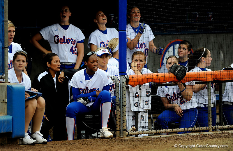 (Casey Brooke Lawson / Gator Country) The UF team watches the game from the dugout during University of Florida's game against Georgia Tech. The Gators defeated the Yellow jackets in six innings, 11 to 1, on Sunday, February 15, 2009 during the Lipton Softball Invitational championship at Katie Seashole Pressly Stadium.