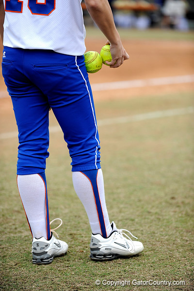 (Casey Brooke Lawson / Gator Country) A UF softball player holds two balls during University of Florida's game against Georgia Tech. The Gators defeated the Yellow jackets in six innings, 11 to 1, on Sunday, February 15, 2009 during the Lipton Softball Invitational championship at Katie Seashole Pressly Stadium.