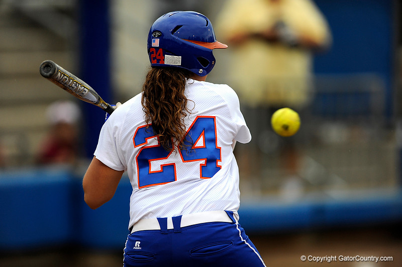 (Casey Brooke Lawson / Gator Country) Ali Gardiner prepares to swing during University of Florida's game against Georgia Tech. The Gators defeated the Yellow jackets in six innings, 11 to 1, on Sunday, February 15, 2009 during the Lipton Softball Invitational championship at Katie Seashole Pressly Stadium.