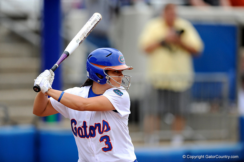 (Casey Brooke Lawson / Gator Country) Aja Paculba prepares to bat during University of Florida's game against Georgia Tech. The Gators defeated the Yellow jackets in six innings, 11 to 1, on Sunday, February 15, 2009 during the Lipton Softball Invitational championship at Katie Seashole Pressly Stadium.