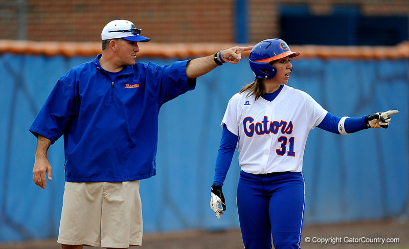 (Casey Brooke Lawson / Gator Country) Kristina Hilberth points toward the infield during University of Florida's game against Georgia Tech. The Gators defeated the Yellow jackets in six innings, 11 to 1, on Sunday, February 15, 2009 during the Lipton Softball Invitational championship at Katie Seashole Pressly Stadium.