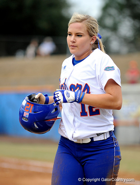 (Casey Brooke Lawson / Gator Country) UF Megan Bush walks away from home base during University of Florida's game against Georgia Tech.The Gators defeated the Yellow jackets in six innings, 11 to 1, on Sunday, February 15, 2009 during the Lipton Softball Invitational championship at Katie Seashole Pressly Stadium.